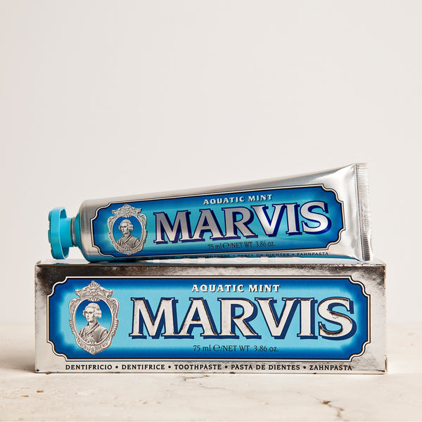 Marvis Aquatic Mint Full Size Toothpaste 75ml Women's Facial Care Women whitening whitener whiten white toothpaste tooth decay tooth teeth care teeth tartar quality prevent plaque paste Mouthcare mouth care Mouth minty mint Men's Facial Care Men mavis Marvis Toothpaste Marvis Made in Italy italy italian gifts gift fresh florence flavours flavour facial care face care face drugstorelove drugstore's drugstore drug-store decay cult artisanal