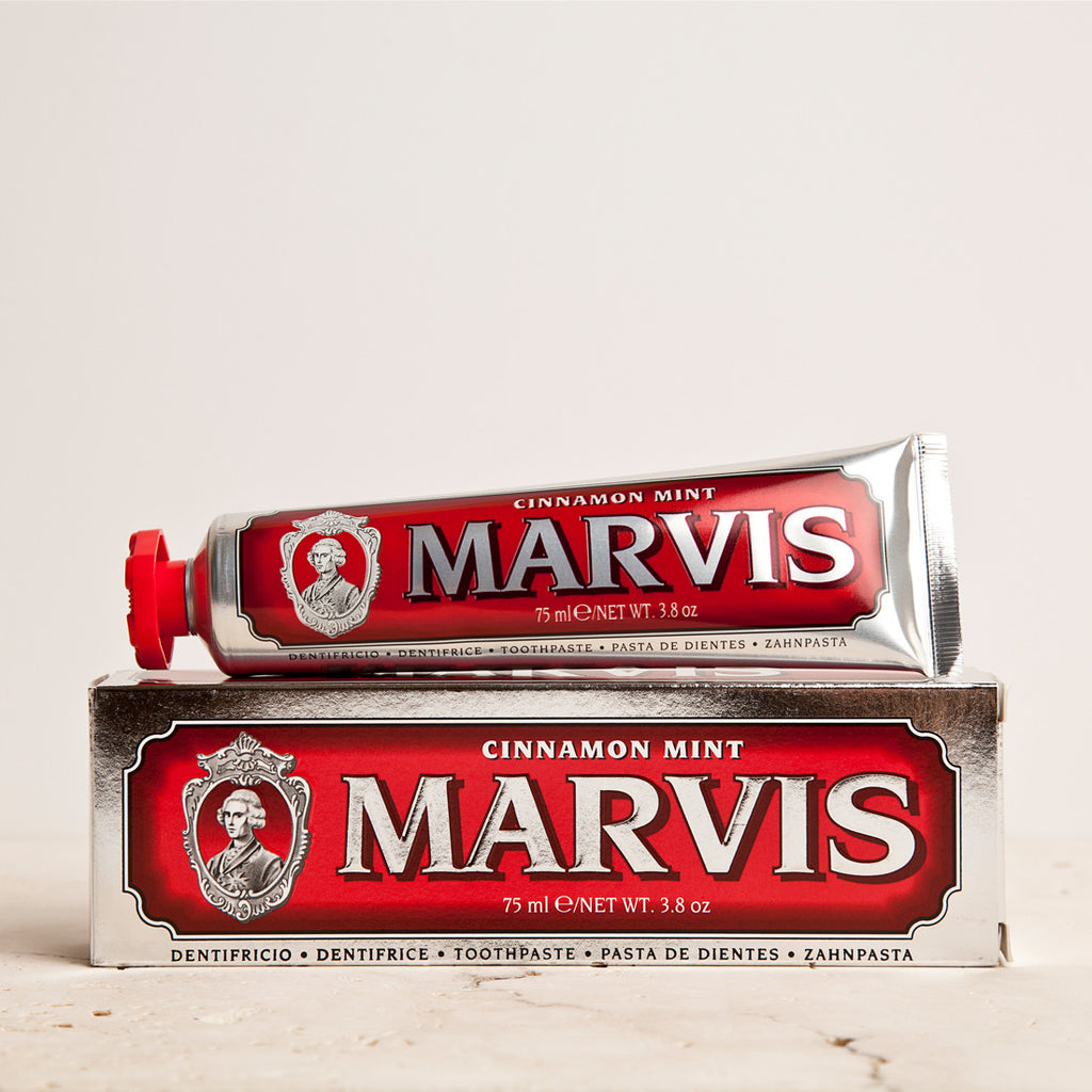 Marvis Cinnamon Mint Toothpaste 75ml Women's Facial Care Women whitening whitener whiten white toothpaste tooth decay tooth teeth care teeth tartar quality prevent plaque paste Mouthcare mouth care Mouth minty mint Men's Facial Care Men mavis Marvis Toothpaste Marvis Made in Italy italy italian gifts gift fresh florence flavours flavour facial care face care face drugstorelove drugstore's drugstore drug-store decay cult artisanal