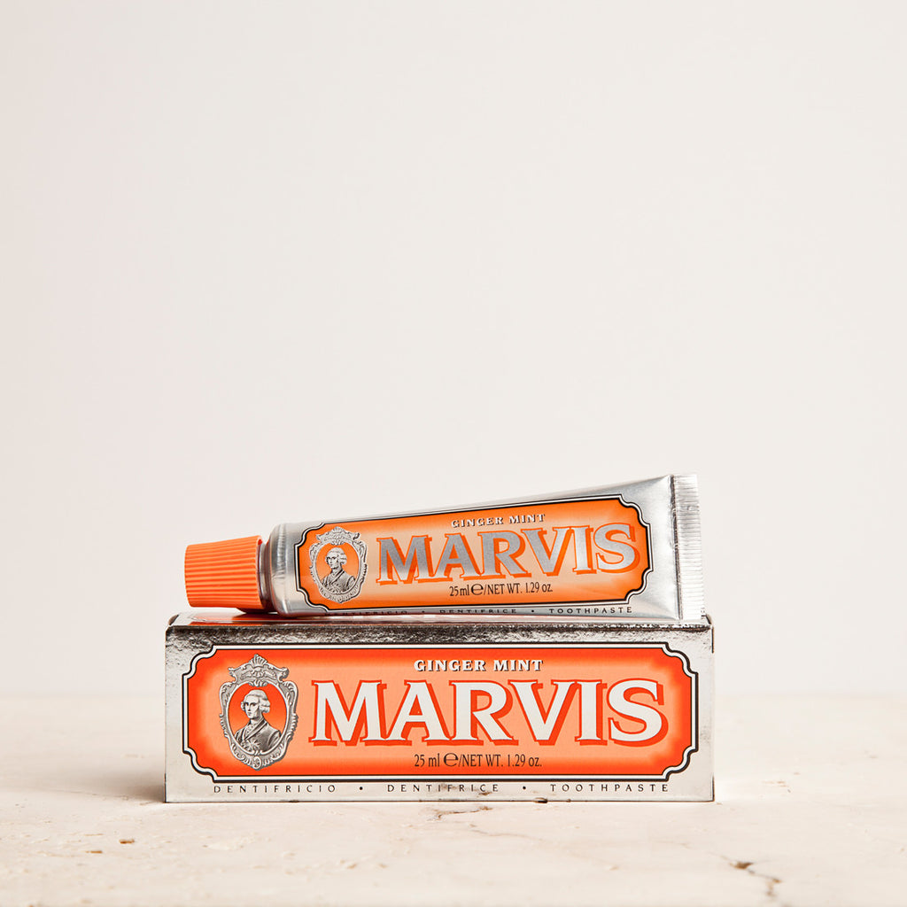 Marvis Ginger Mint Toothpaste 25ml Women's Facial Care Women travel toothpaste tooth decay tooth teeth care teeth tartar spicy spice quality prevent plaque paste Mouthcare mouth care mouth mint Men's Facial Care Men mavis Marvis Toothpaste marvis made in italy Luxury Mouthcare italy italian ginger-mint ginger fresh florence facial care face care face drugstorelove drugstore's drugstore drug-store decay cult artisanal