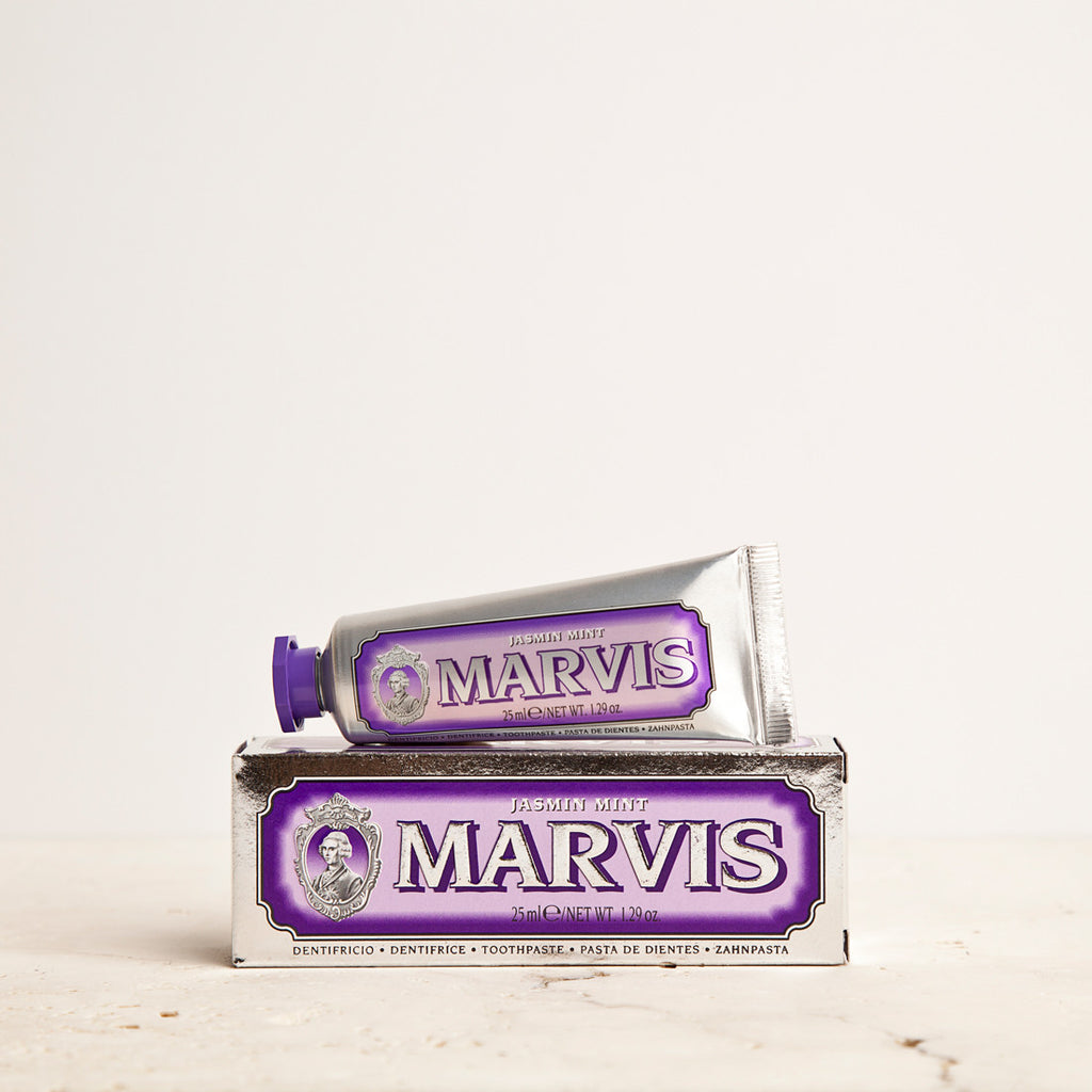Marvis Jasmin Mint Toothpaste 25ml Women's Facial Care Women travel toothpastes toothpaste tooth decay tooth teeth care teeth taste tartar quality prevent plaque paste Mouthcare mouth care mouth minty mint Men's Facial Care Men mavis Marvis Toothpaste Marvis Made in Italy jasmine jasmin italy italian gifts gift fresh florence flavours flavour facial care face care face drugstorelove drugstore's drugstore drug-store dental care decay cult artisanal