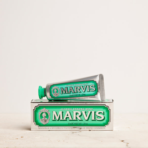Marvis Classic Strong Mint Toothpaste 25ml Women's Facial Care Women whitening whitener whiten white toothpaste tooth decay tooth teeth care teeth tartar quality prevent plaque paste Mouthcare mouth care Mouth minty mint Men's Facial Care Men mavis Marvis Toothpaste Marvis Made in Italy italy italian gifts gift fresh florence flavours flavour facial care face care face drugstorelove drugstore's drugstore drug-store decay cult artisanal