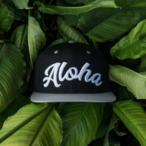 "Black/Grey/White ""Aloha"" Snapback"