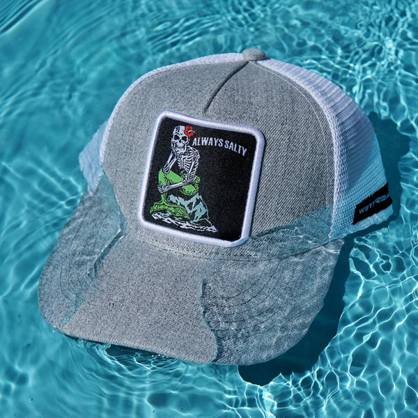 "Ponytail ""Always Salty"" Trucker Hat - Sea Salt"