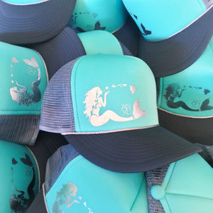 Mermaid Trucker - Aqua/Chrome