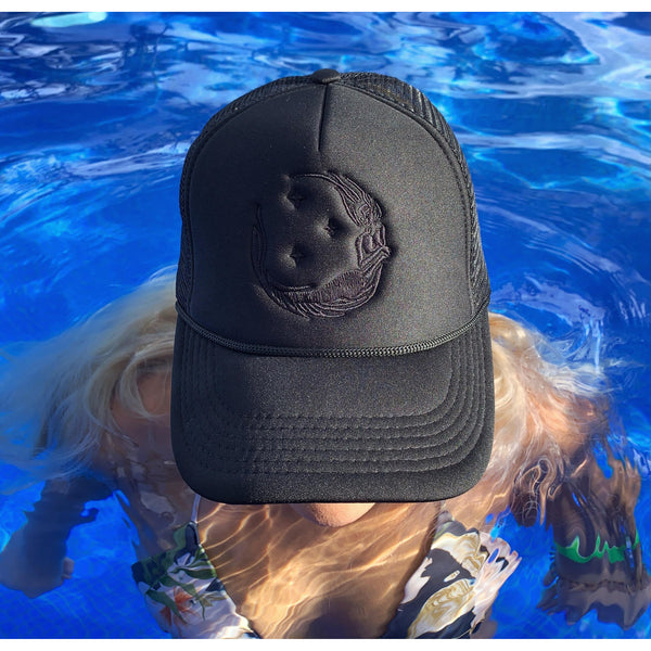 "Ponytail ""Moon Mermaid"" Trucker - Black/Black"