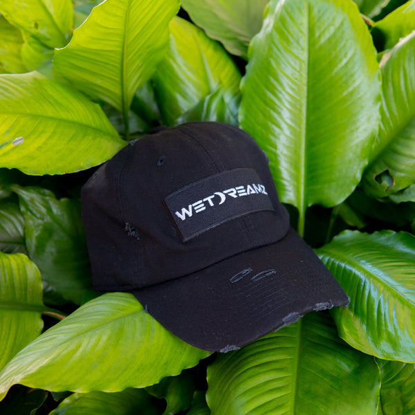 """Wet Dreamz"" Distressed Dad Hat - Black Patch"