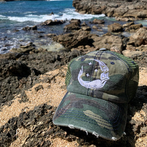 "Ponytail ""Moon Mermaid"" Trucker - Distressed Camo"