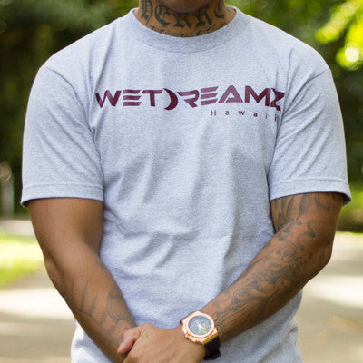 """Wet Dreamz Logo"" Tee - Heather Grey/Maroon"
