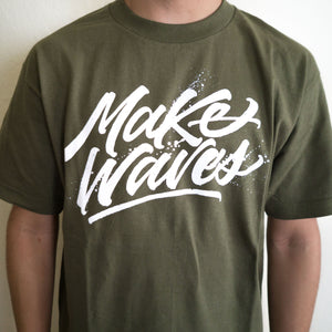 """Make Waves"" Military Green Tee"
