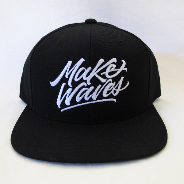 """Make Waves"" Black/White Snapback"