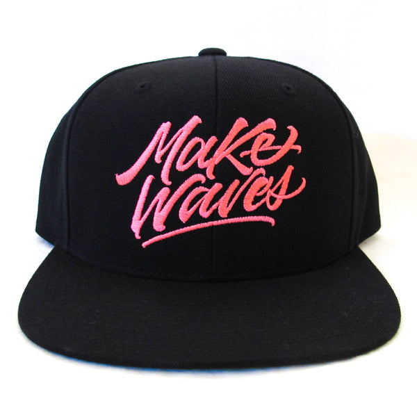 """Make Waves"" Black/Pink Snapback"