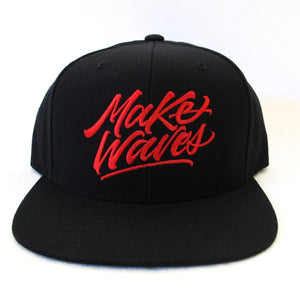 """Make Waves"" Black/Red Snapback"