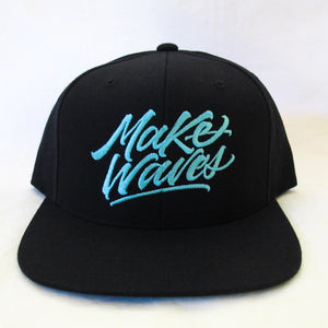 """Make Waves"" Black/Tiffany Snapback"