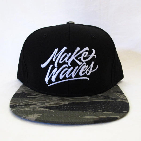 """Make Waves"" Black Tiger Camo Bill Snapback"