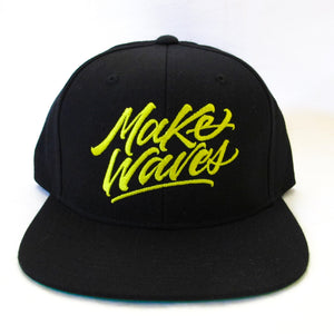 """Make Waves"" Black/Yellow Snapback"