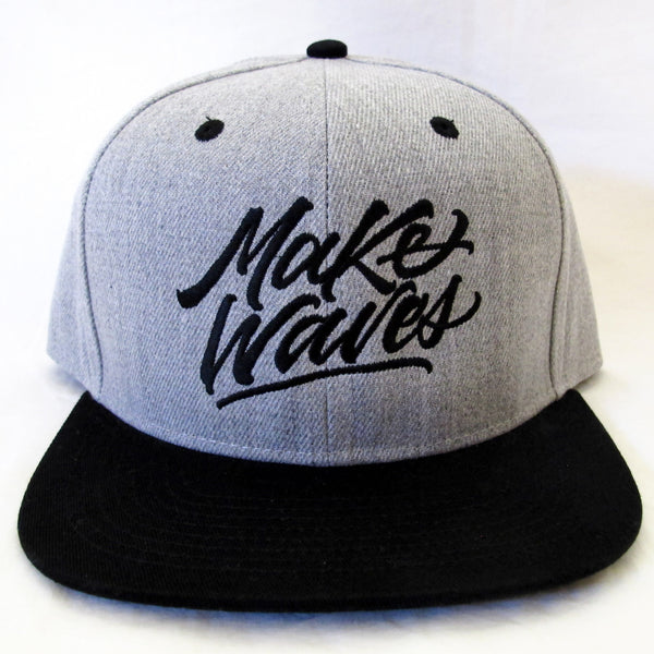 """Make Waves"" Grey/Black Snapback"