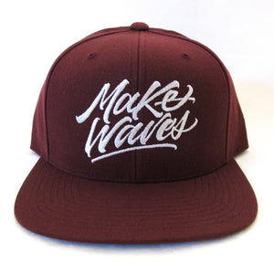 """Make Waves"" Burgundy Snapback"