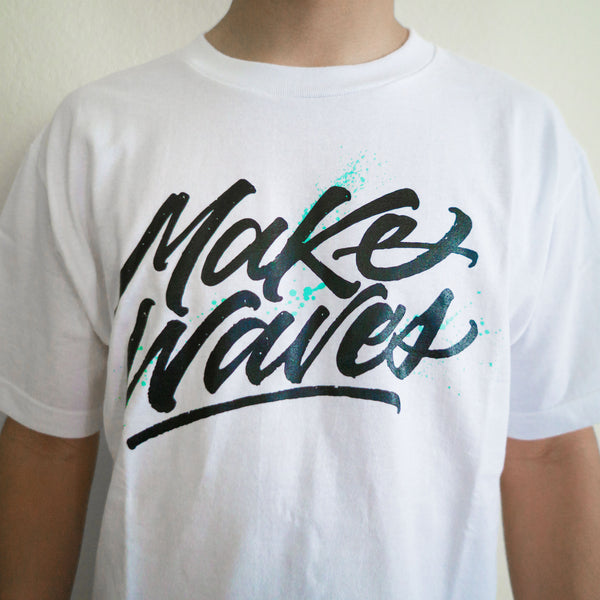 """Make Waves"" White Tee"