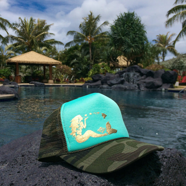 Mermaid Trucker - Aqua/Camo