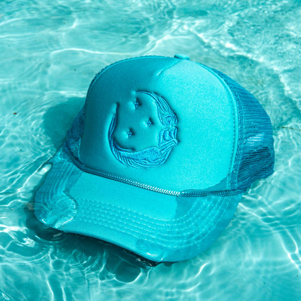 "Ponytail ""Moon Mermaid"" Trucker - Teal/Teal"