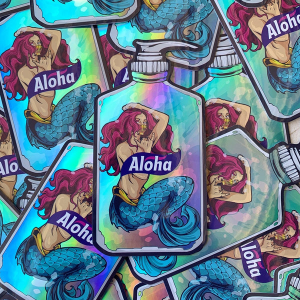 """Spread Aloha"" Holographic Sticker"