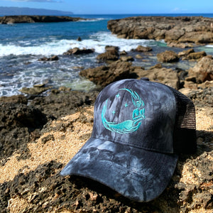 "Ponytail ""Moon Mermaid"" Trucker - Black Smoke Tie-Dye"