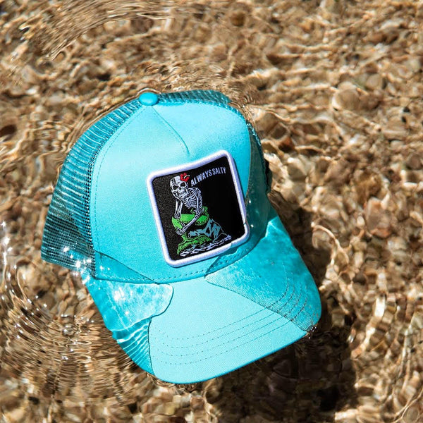 """Always Salty"" Trucker Hat - Aqua"