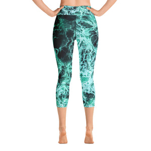 """Jade Oceans Web"" Yoga Capri Leggings"