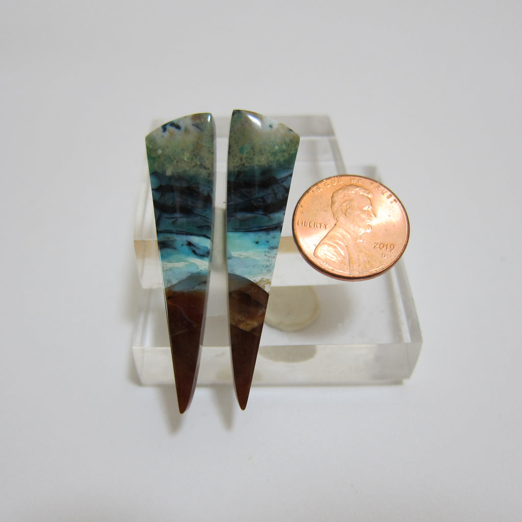 Blue Opal with Wood Pair V435