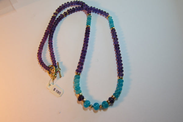 J 8 Amazonite and Amethyst Necklace