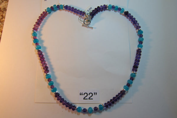 J 9 Amazonite and Amethyst Necklace