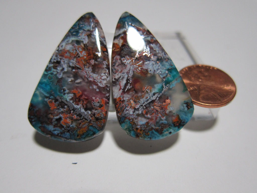 Blue Opal with Native Copper Pair V 277