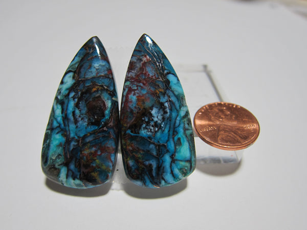 Blue Opal with Native Copper Pair V 278
