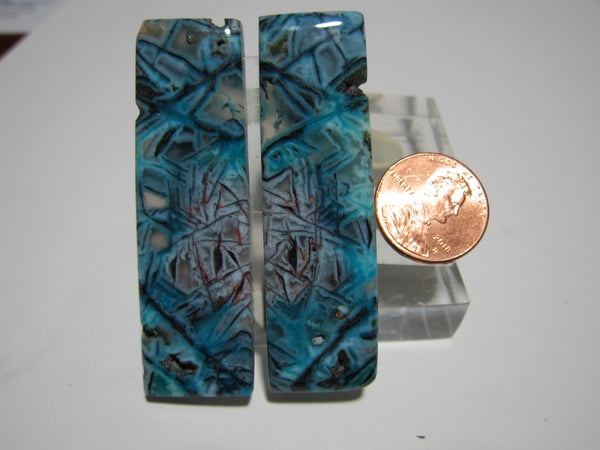 Blue Opal with Native Copper Pair V 283