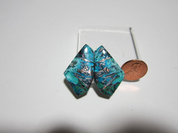 Blue Opal with Native Copper Pair V 288