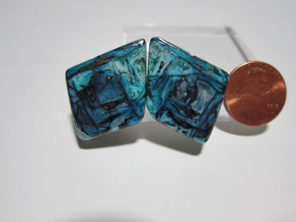 Blue Opal with Native Copper Pair V 290