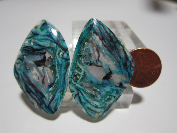 Blue Opal With Native Copper Pair V 308