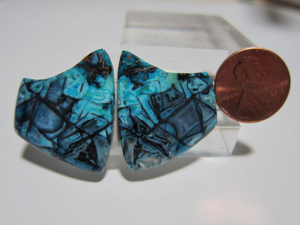 Blue Opal With Native Copper Pair V 311
