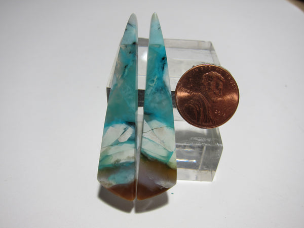 Blue Opal with wood Pair V 329
