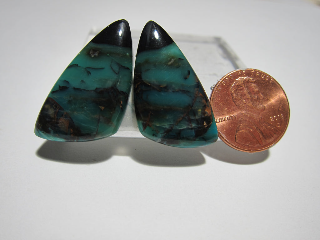 Blue Opal with Native Copper Pair V 339