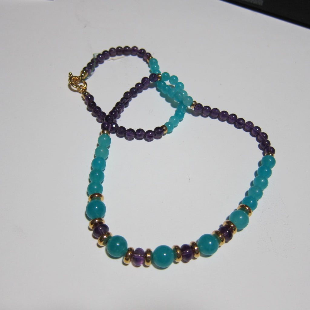 Amazonite and Amethyst Necklace -J 7