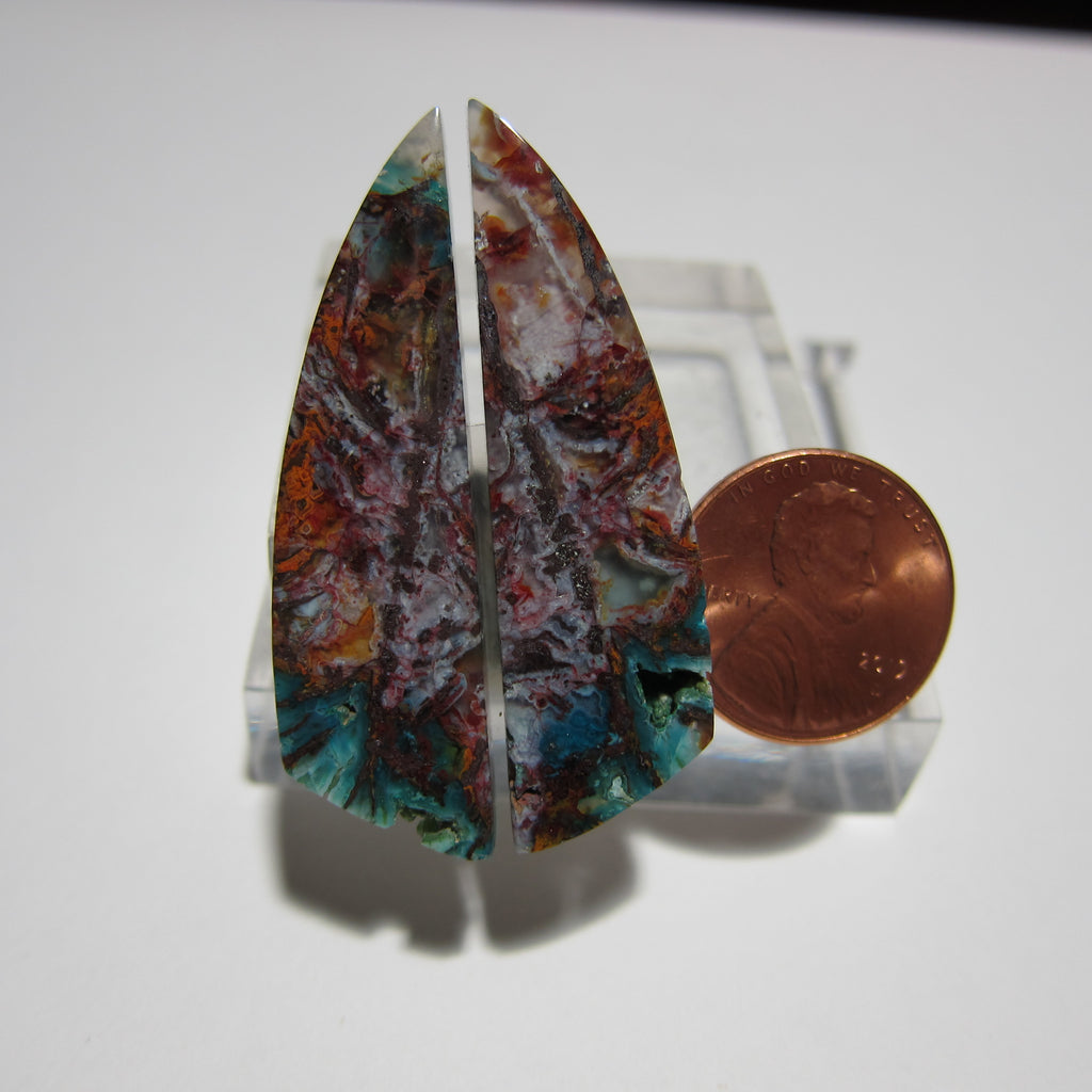 Blue Opal with Native Copper Pair V 346