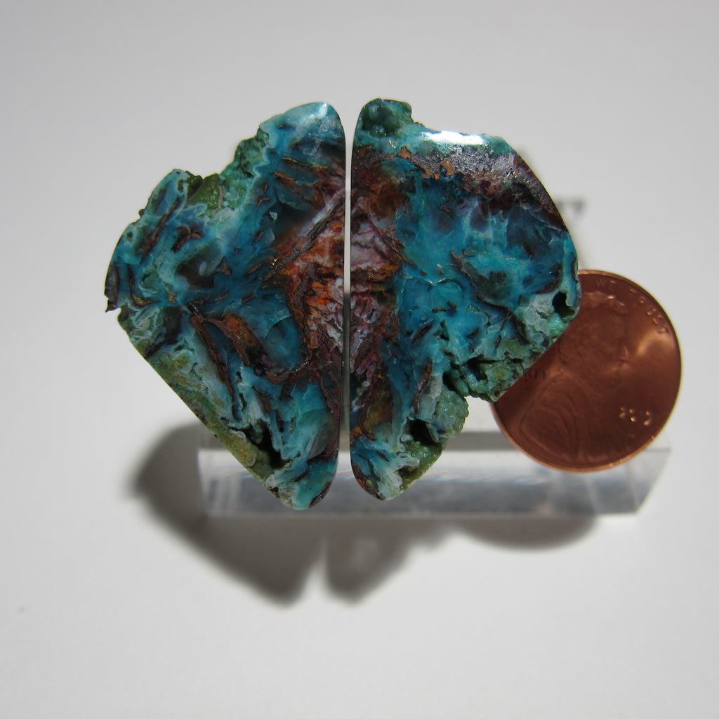 Blue Opal with Native Copper Pair V 348