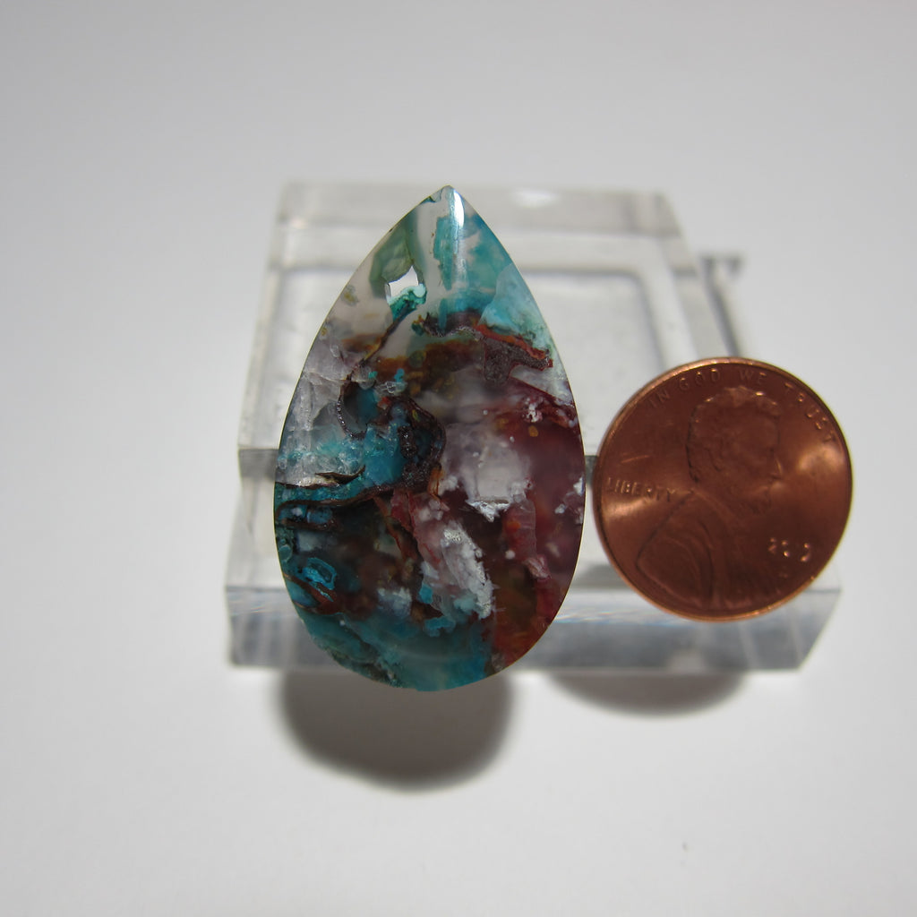 Blue Opal with Native Copper Pendant V 350