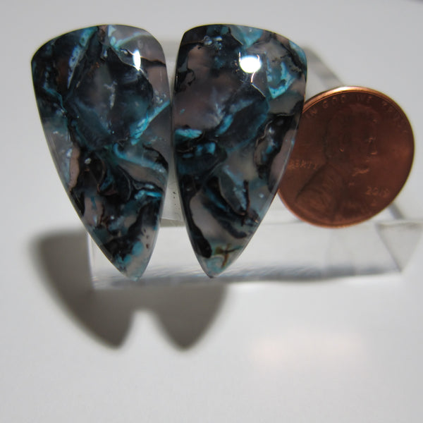 Blue Opal with Native Copper Pair V 400