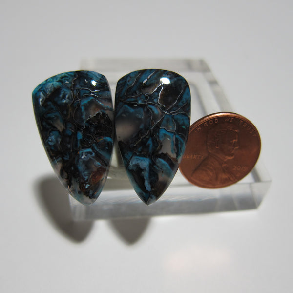 Blue Opal with Native Copper Pair V 404