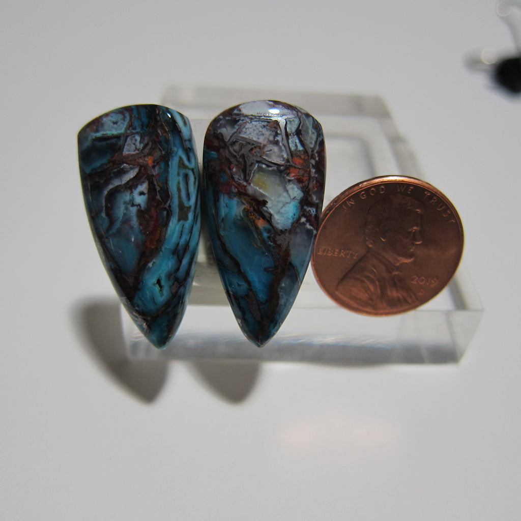 Blue Opal with Native Copper Pair V 405