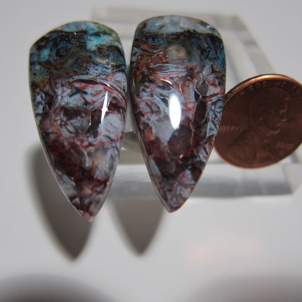 Blue Opal with Native Copper Pair V 407