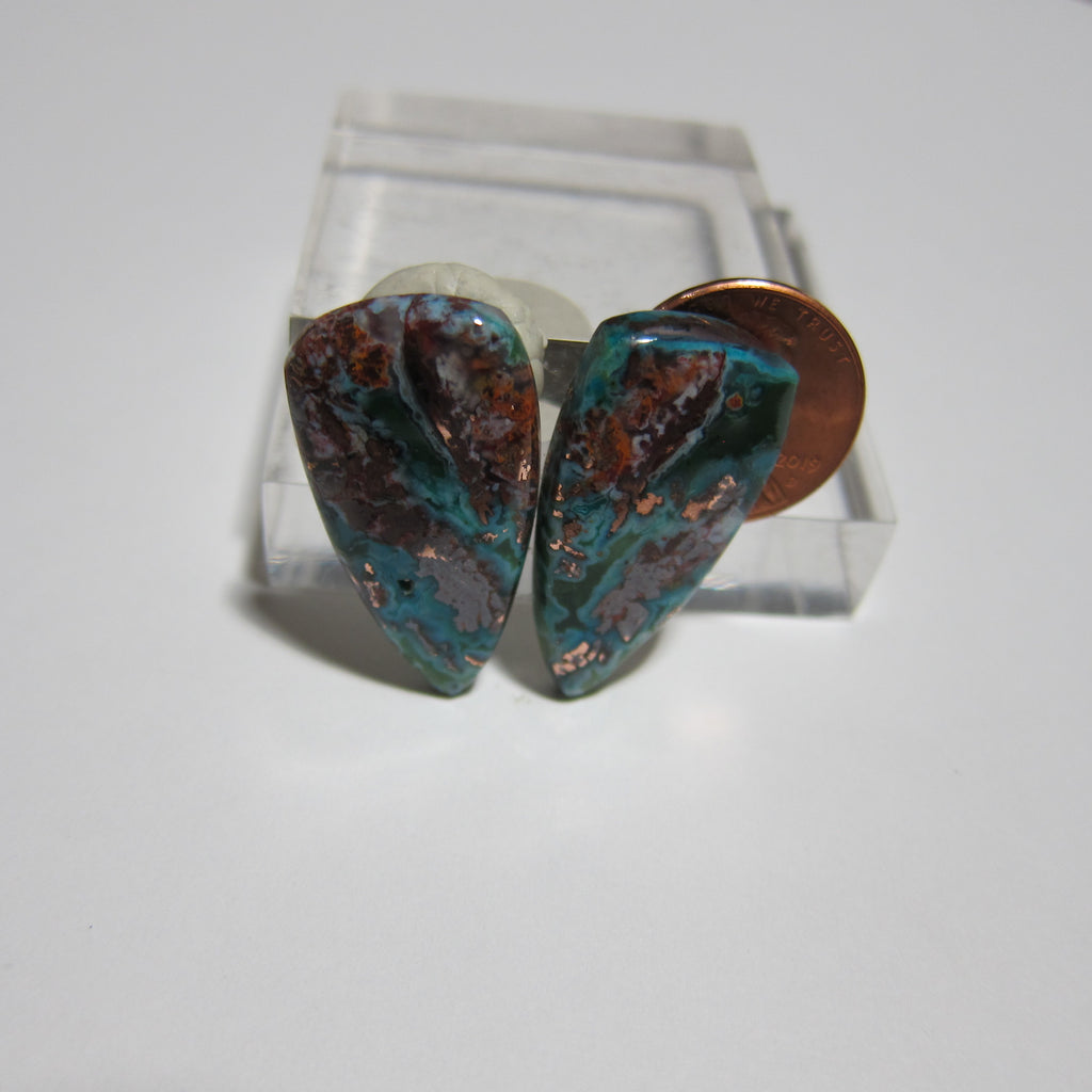 Blue Opal with Native Copper Pair V 411