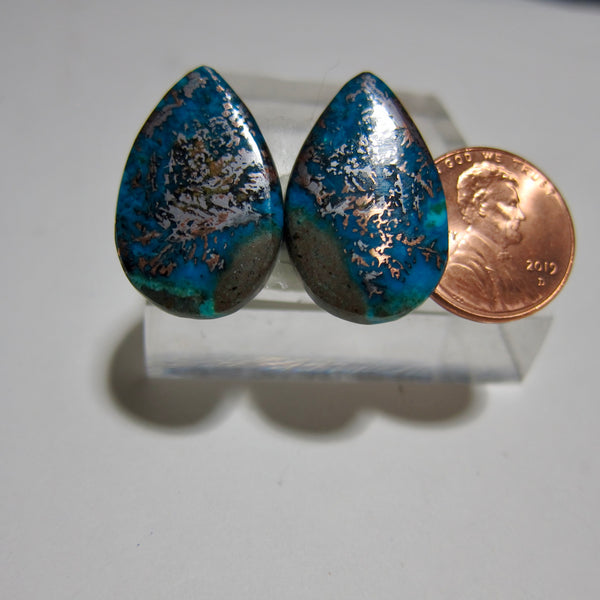 Blue Opal with Native Copper Pair Y 145